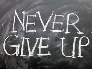 Motivationstafel Never Give Up!