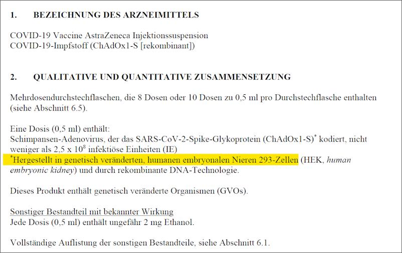 Fachinformation von Covid-19-Vaccine Astra / Zeneca
